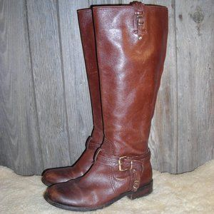 Vince Camuto brown riding harmess boots size 8